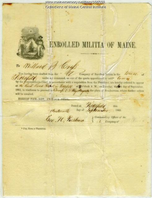 Willard Cross draft notice, Pittsfield, 1862