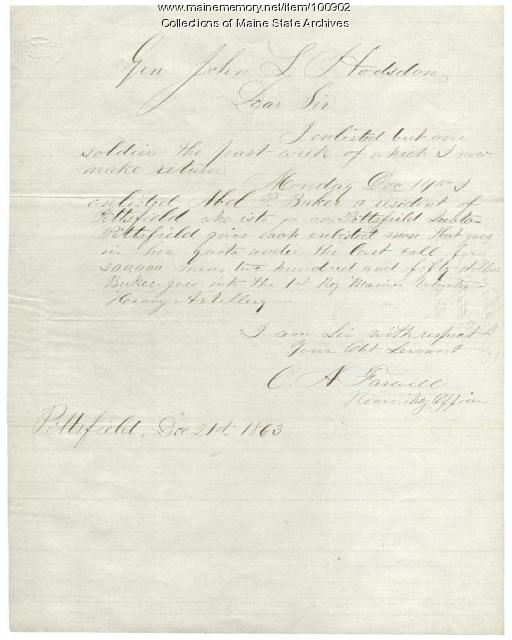 Recruiter Farwell's letter regarding Civil War quotas, Pittsfield, 1863