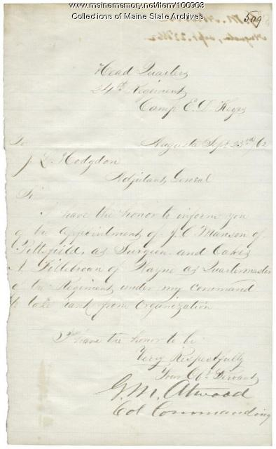 G.M. Atwood letter to J.L. Hodsdon about the 24th Maine Regiment, Augusta, 1862