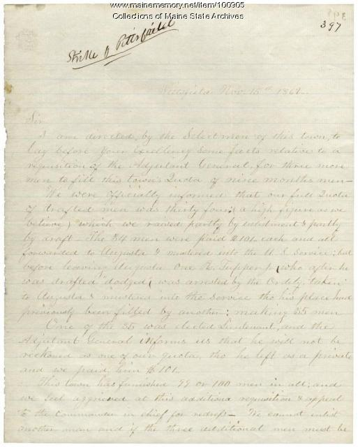 George Whitney letter to Gov. Washburn about Civil War quotas, Pittsfield, 1862