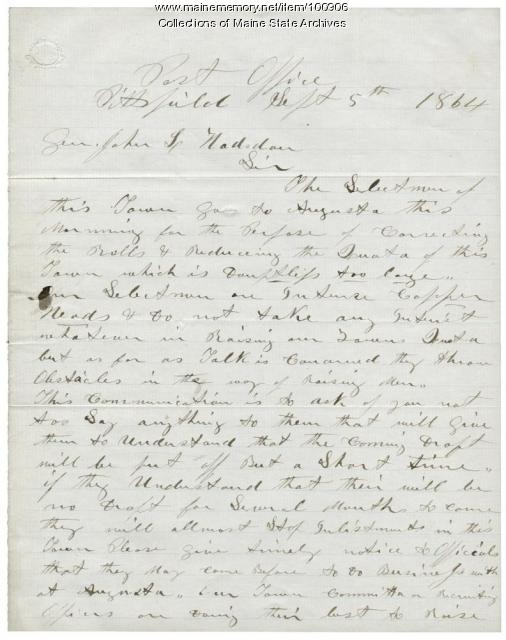 J.C. Connor letter about Civil War enlistments, Pittsfield, 1864