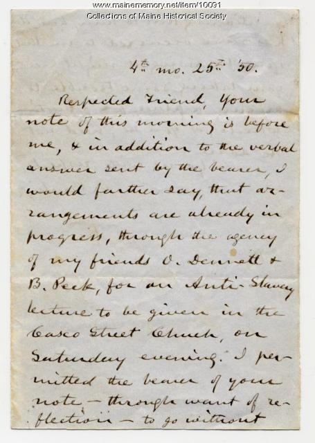Letter from C.C. Burleigh to Elizabeth Mountfort, April 25, 1850