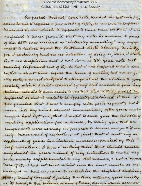 Letter from C.C. Burleigh to Elizabeth Mountfort, April 28, 1850