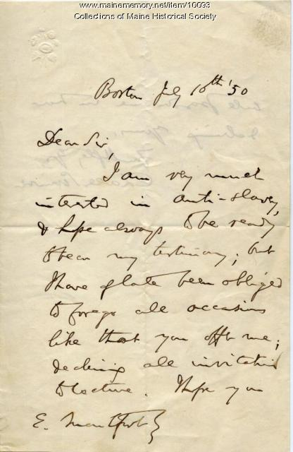 Letter from Charles Sumner to Elizabeth Mountfort, July 10, 1850