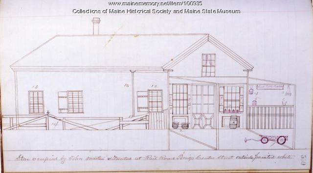 John Martin store, Center Street, Bangor, 1862