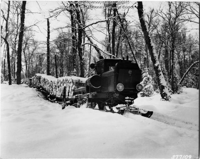 Tractor hauling pulpwood, Magalloway Township, 1939