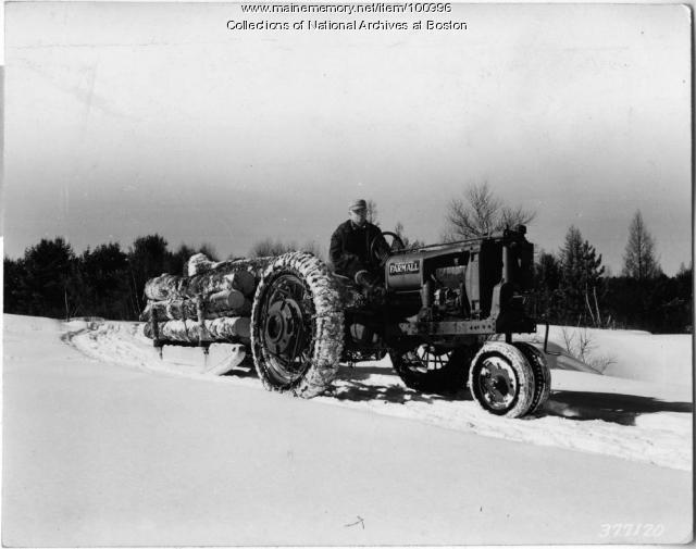 Hauling salvage logs, Bridgton, 1939