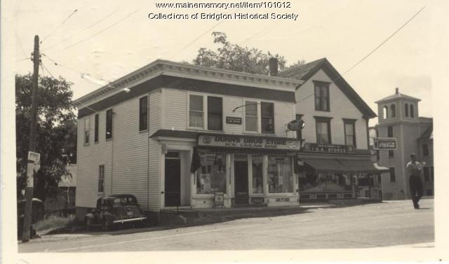 Dunn's Drug Store, 150 Main Street, Bridgton, ca. 1938
