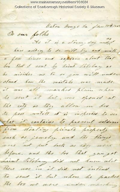 Cpl. Milliken letter to parents, Louisiana, 1863
