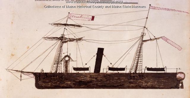 "Revenue gunboat ""Mahoning,"" Bangor, 1864"