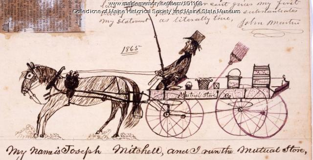 Joseph Mitchell and Mutual Store wagon, Bangor, 1865