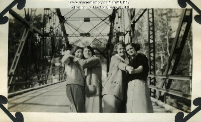Women dancing on a bridge, Farmington, ca. 1925