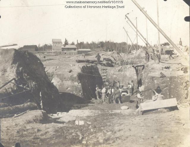 Constructing Dolby Dam, East Millinocket, ca. 1905
