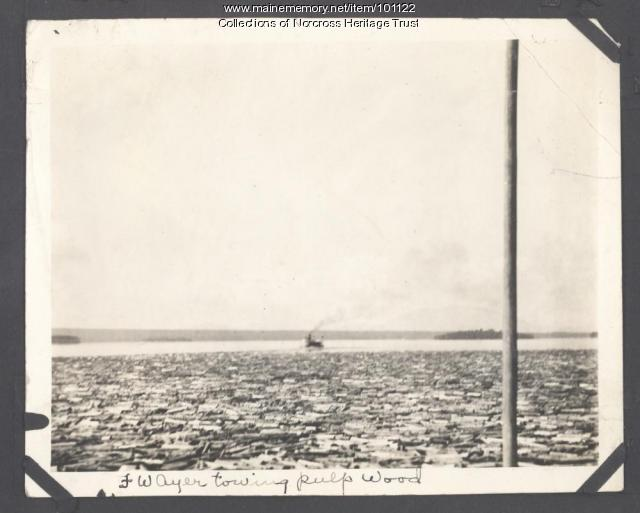 "Paddlewheel steamer ""F.W. Ayer"" towing boom, Pemadumcook Lake, ca. 1920"