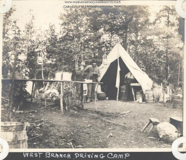 River drivers' camp, West Branch Penobscot River, ca. 1900