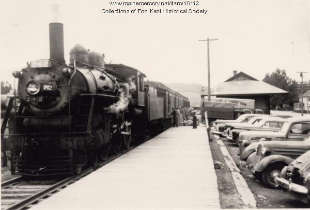 Bangor and Aroostook Raiload engine 242, Fort Kent, c. 1945