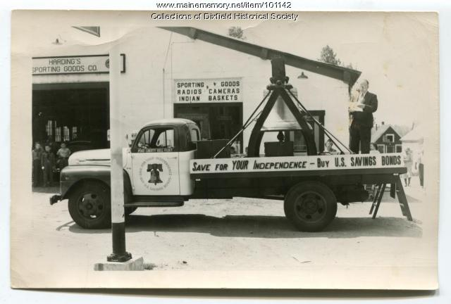Selling savings bonds on Ford Liberty Bell truck, Dixfield, ca. 1950