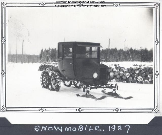 Model T snowmobile, Quakish Lake, 1927