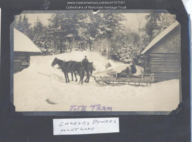 Tote team, Millinocket Lake, ca. 1920