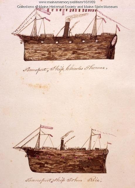 Soldier transport ships, Bangor, 1865