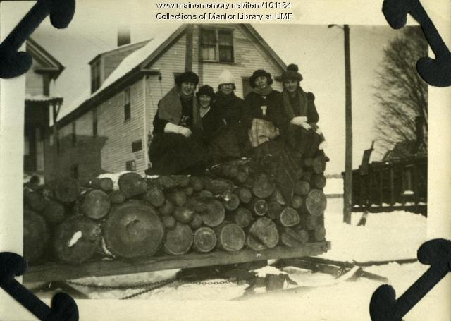 Normal School students on wood sledge, Farmington, ca. 1922