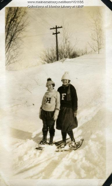 Normal School students snowshoeing, Farmington, ca. 1922