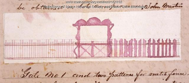 Design for rustic fence, gate, Bangor, 1867