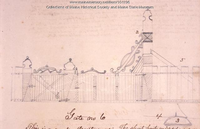 John Martin gate design, Bangor, 1867