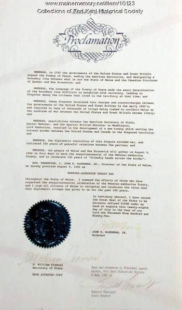 Webster-Ashburton anniversary proclamation, 1992