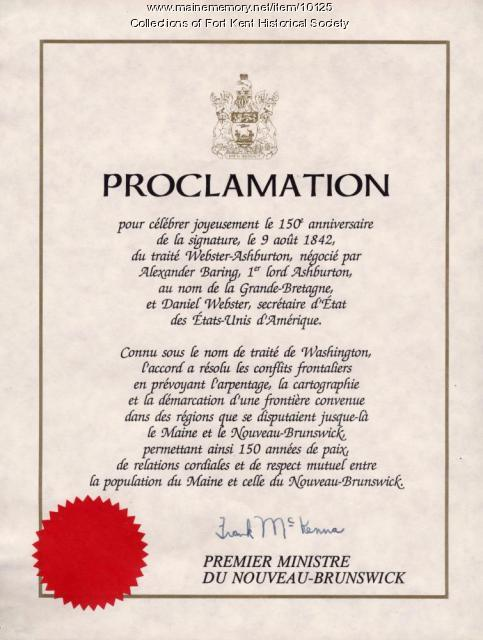 New Brunswick Treaty of Washington anniversary proclamation, 1992