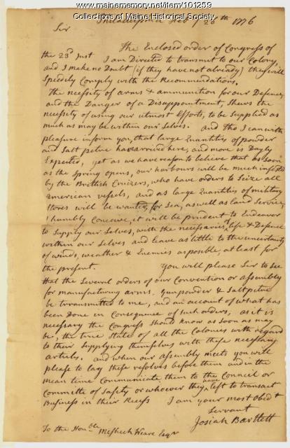 Josiah Bartlett to Mashech Wear, Philadelphia, 1776