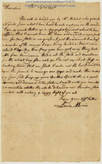 Lewis Morris inquiring about family after Revolutionary War battle, Philadelphia, 1776