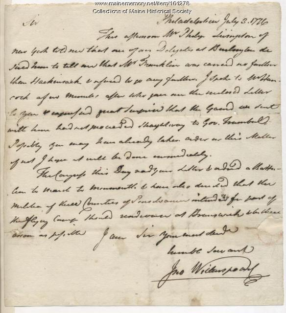 John Witherspoon on William Franklin's arrest, Philadelphia, Pennsylvania, 1776