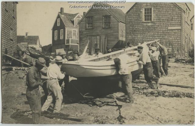 "Launching the ""Waterlily,"" Monhegan, ca. 1910"