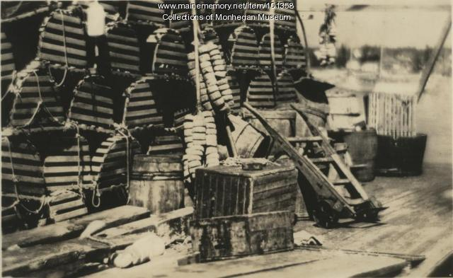 Fishing gear and oak lobster traps, Monhegan, ca. 1890