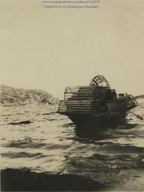 Trap-laden dory, Monhegan, ca. 1900