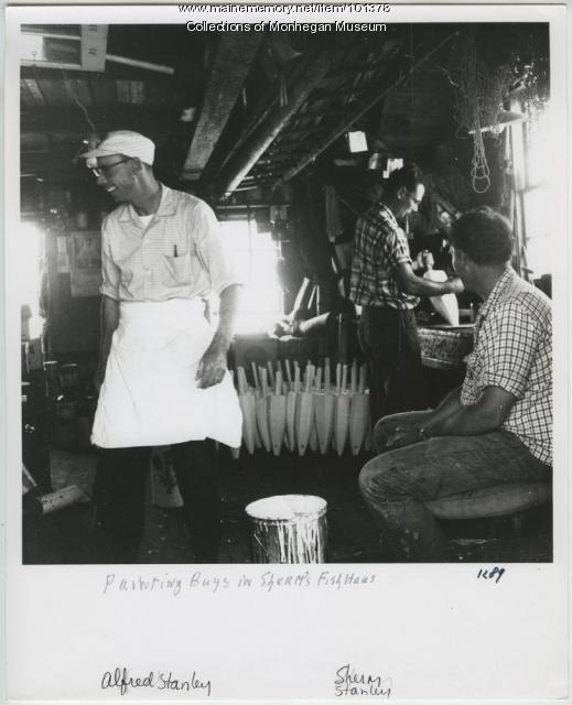 Painting buoys, Monhegan, ca. 1968