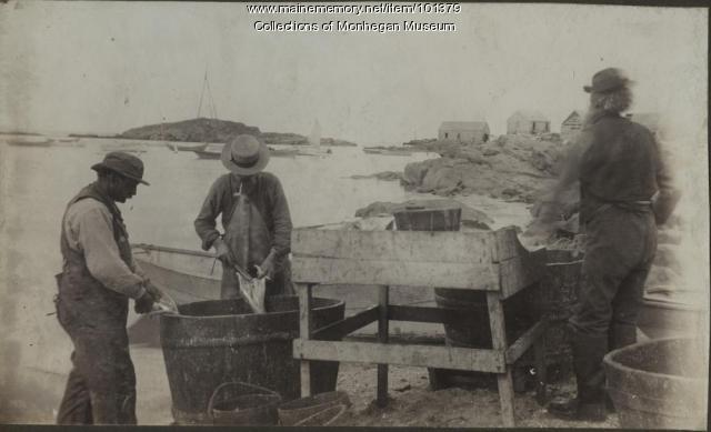 Cleaning fish, Monhegan, ca. 1880