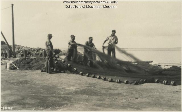 Throwing nets, Monhegan, ca. 1947