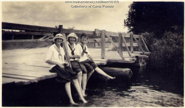 Camp Runoia Girls on Belgrade Stream Bridge