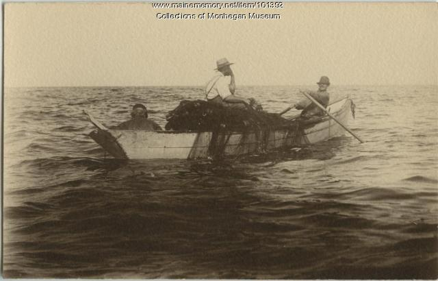 Rowing out to set, Monhegan, ca. 1890