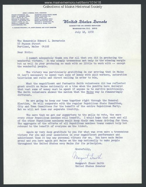Margaret Chase Smith commitment to limited campaign spending, 1972