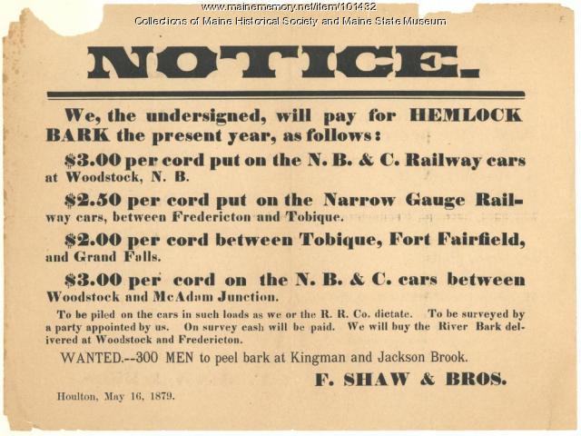 Shaw & Bros. ad for bark, Houlton, 1879