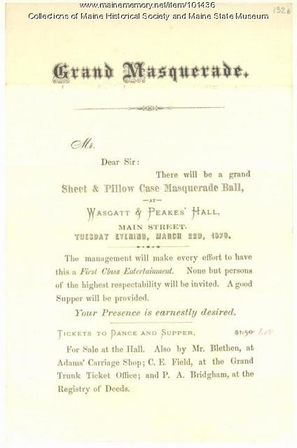 Invitation to masquerade dance, Bangor, 1870