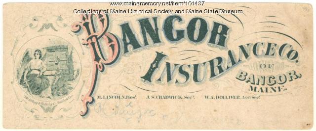 Bangor Insurance Co. advertising blotter, ca. 1870