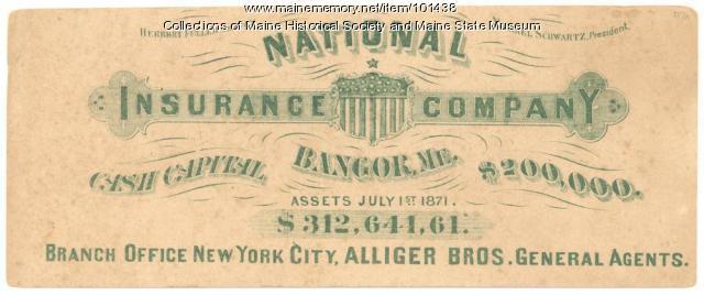 National Insurance Co. advertising blotter, Bangor, ca. 1871