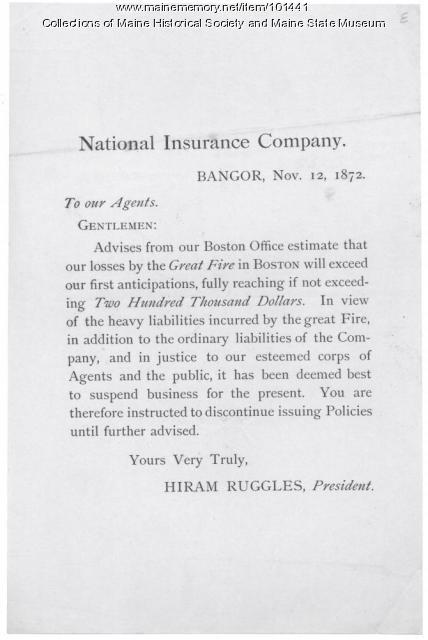 Order to stop selling insurance, Bangor, 1872