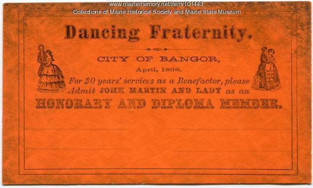 John Martin Dancing Fraternity card, Bangor 1868