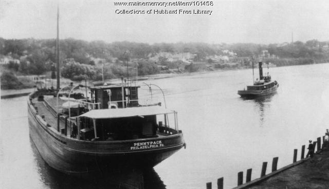 Tugboat and coal barge, Augusta, ca. 1940