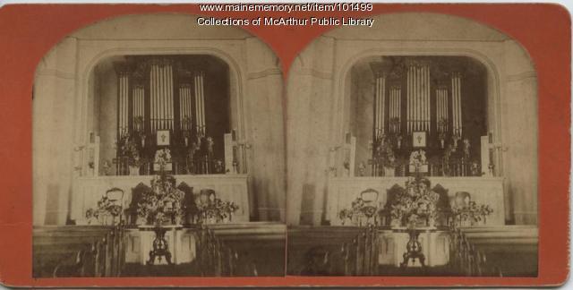 Church altar and pipe organ, 1879
